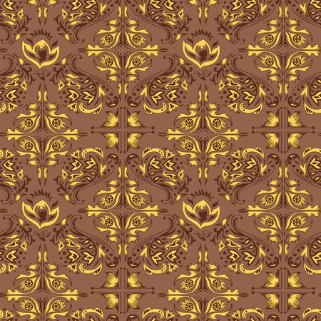 Brown and yellow seamless background with Islamic motifs