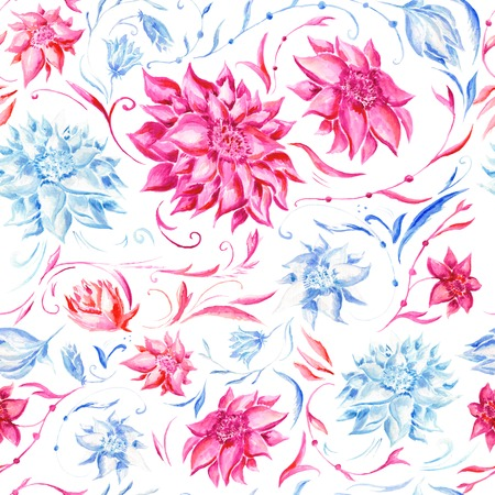 Seamless texture with pink and blue hand-painted flowers for textile design