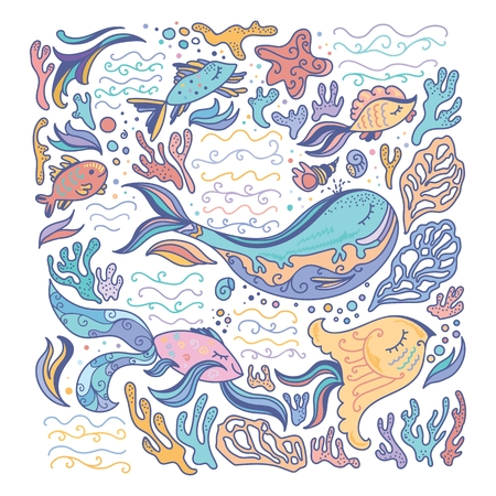 corals: Colorful sea illustration with fishes, seashells, corals and waves