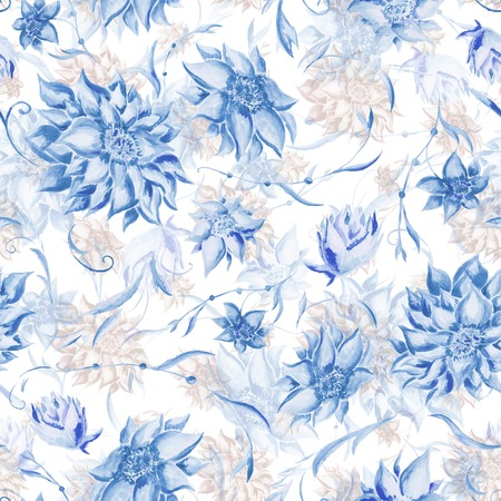 Seamless watercolor background with beautiful flowers for textile design