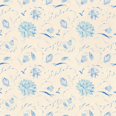 Acuarela pintada a mano de fondo floral sin fisuras en la textura de lino