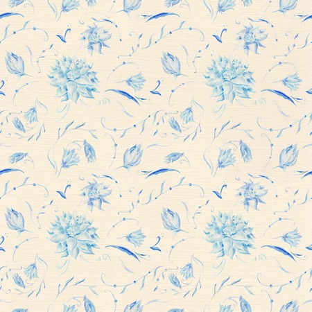 Watercolor hand-painted seamless floral background on linen texture