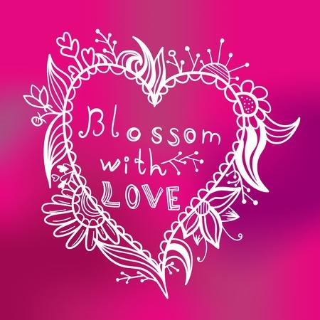 Brillante ilustraci�n de San Valent�n con el coraz�n y las flores Vectores