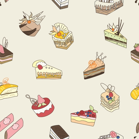 chocolate cake: Pastel beige seamless background with lovely sweets Illustration