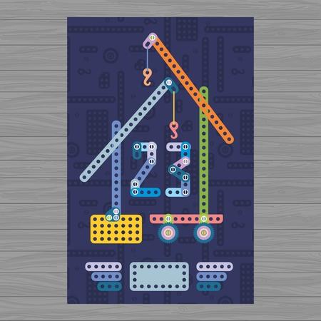 23: Creative vector 23 february illustration with baby metal blocks Illustration