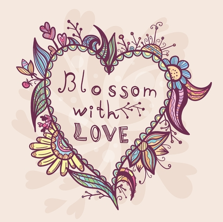 heart shaped leaves: Creative vector sketch illustration with love symbol and blossoming flowers Illustration