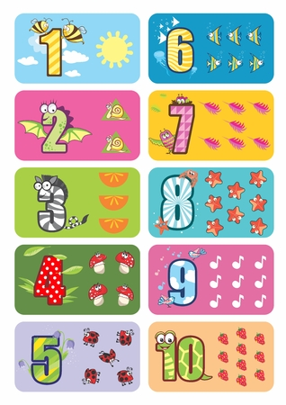 3 6 months: Funny children illustration for counting 1 to 10 with cute animals Illustration