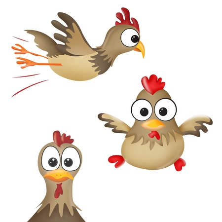Cartoon illustration with funny chickens - symbol of 2016 year