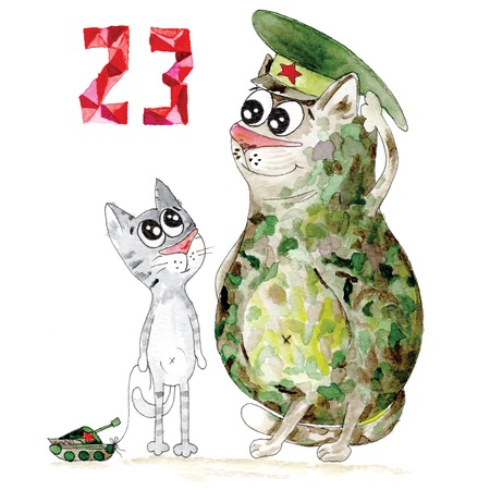 23 february illustration with cute army cat and kitten Stock Photo