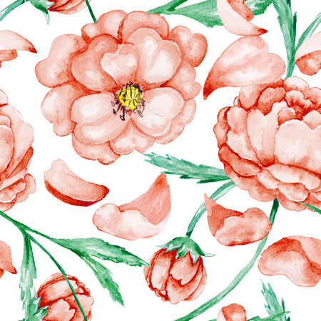 Vintage seamless watercolor background with beautiful flowers for textile design