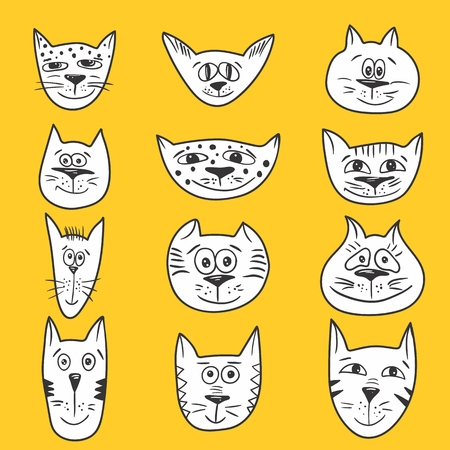 smiling cat: Vector sketch emotional smiling cat faces icons Illustration