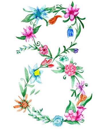 8 march: 8 march floral watercolor painting for card design