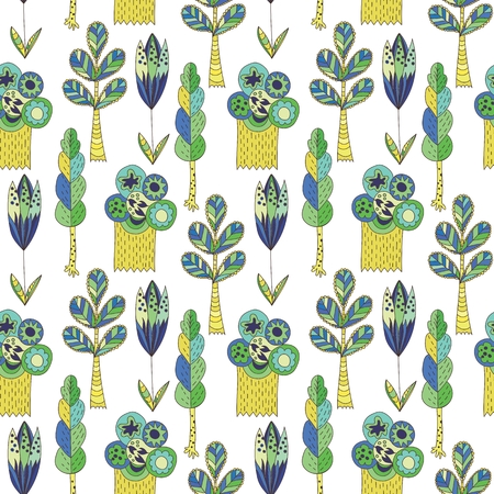 Funny spring background with baby style plants Illustration