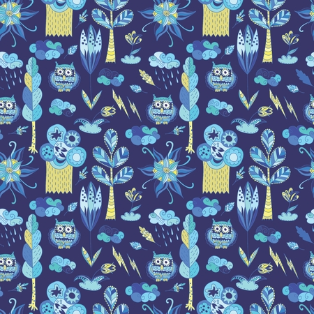 Vector blue doodle pattern with trees, flowers, owls and clouds Illustration