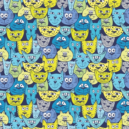 Funny cute cartoon background with cool cats