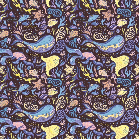 Sketch style baby design background with sea animals