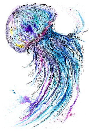 Ilustraci�n de arte de la vida marina creativo con azul medusa Foto de archivo