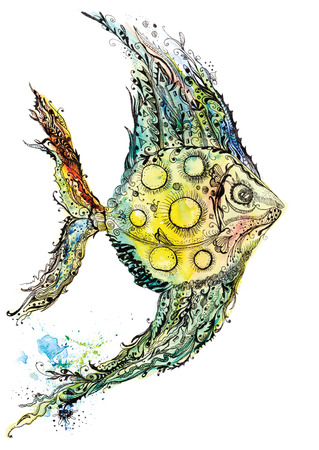 moon fish: Creative ink and aquarelle colorful painting with moon fish