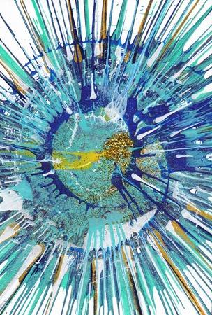 Colorful acrylic blob drawing Jackson Pollock style Stock Photo
