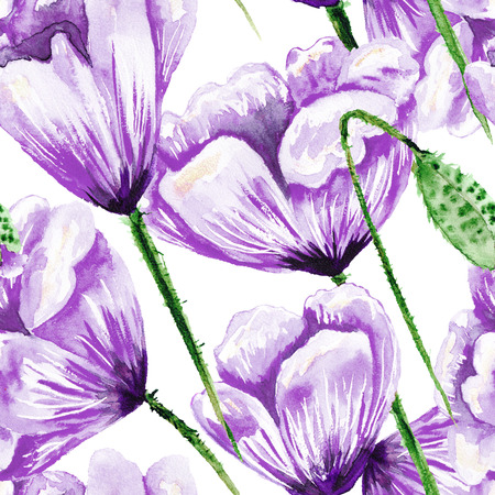 Hand-painted seamless texture with violet flowers on white backgroung for textile, wallpaper and romantic design. Wedding, invitation style