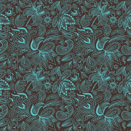 Seamless indian background with swirl national ornaments for textile and wallpaper design, cards and invitations. Brown and turquoise colors