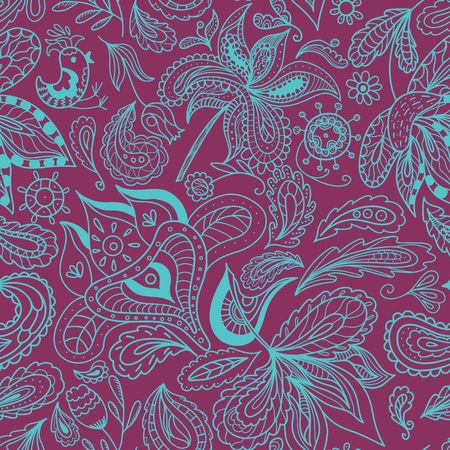 indian pattern: Indian style seamless purple and turquoise background for textile and wallpaper design, flower and spa salons, touristic business