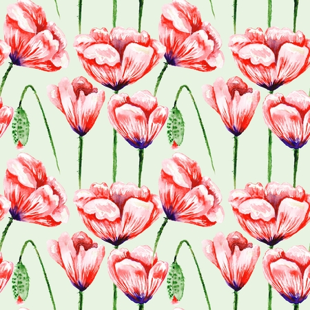 Seamless watercolor hand-painted background with red flowers on green backdrop for textile, business, wallpaper design. Fresh and spring illustration