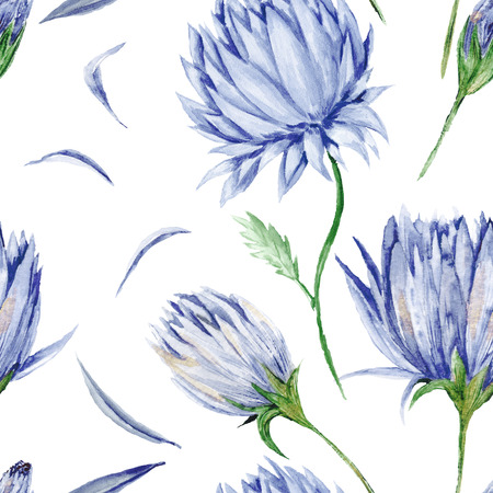 Seamless watercolor background with blue flowers isolated on white background, soft and tender, for romantic design such as wallpapers, bedroom, textile, cards Foto de archivo
