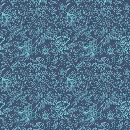 Vector swirl floral eastern seamless background for decoration, fabric and wallpaper design, spa salon identity, cards and invitations Vector