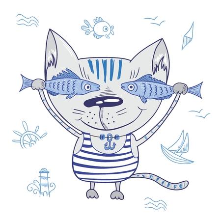 peces caricatura: Ilustración viajes playa de mar con lindos del carácter sostiene pescados en camiseta rayada con colgante de ancla y señales náuticas