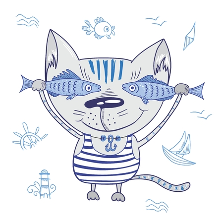 summer cartoon: Sea travel beach illustration with cute character holding fishes in striped t-shirt with anchor pendant and nautical signs