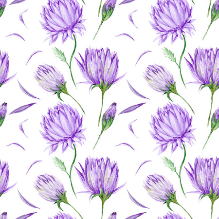 Art creative watercolor wallpaper with hand-painted purple flowers isolated on white background for design