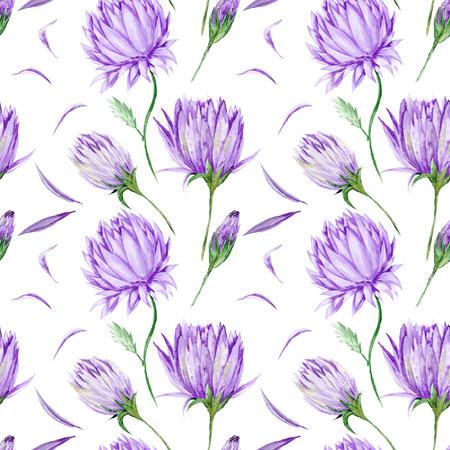 Arte pintado acuarela creativa con flores de color p�rpura pintados a mano aisladas sobre fondo blanco para el dise�o