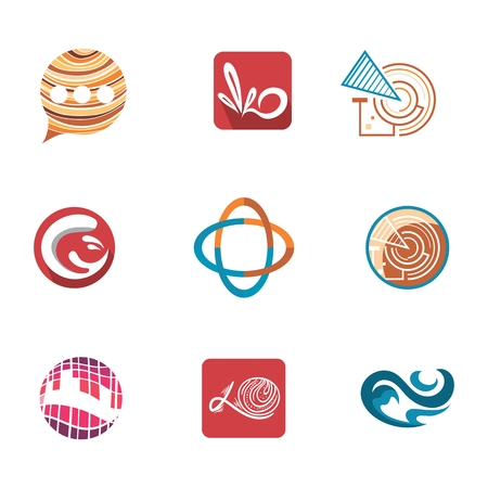 Abstract icons for corporate identity connected with communication, technology, building and engeneering, lawyers Vector