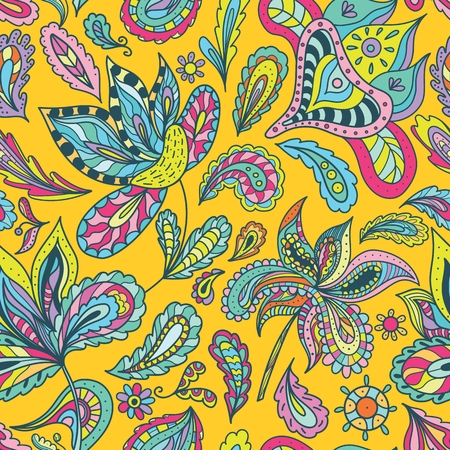 Seamless floral and paisley ornamental sketch doodle wallpaper with ethnic motifs on yellow background Vectores