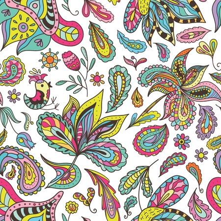 centers: Seamless colorful bright expressive paisley and floral background for yoga centers, spa salons, fabric designs