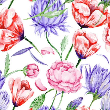 Bright seamless background with roses, peonies, poppies in purple and red colors fro wallpaper, textile and designs Stock Photo