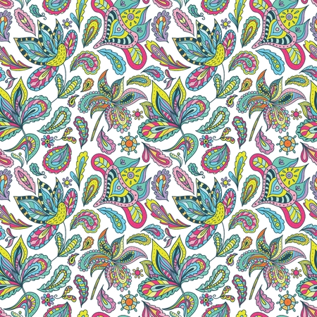 Bright Ethnic background with paisley ornaments, florals and swirls multi colored in sketch style for creative textile and wallpaper design Illustration
