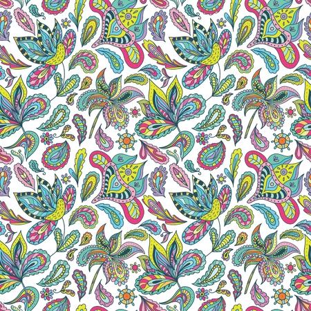 Origen �tnico brillante con adornos paisley, floral y remolinos de varios colores en el estilo de dibujo para la industria textil creativo y dise�o de papel tapiz Vectores
