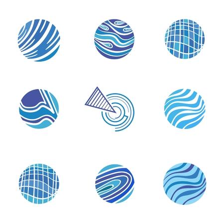 Modelo de la identidad para el abogado, construcci�n, empresas de proyectos en estilo moderno dise�o plano, en forma de c�rculo con ondas y curvas