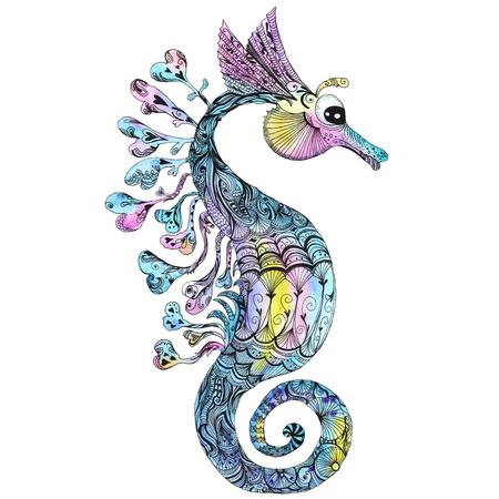 Colorful bright travel sea illustration with marine animal isolated on white background