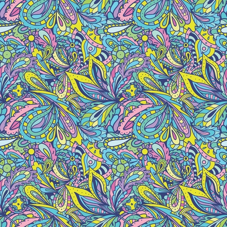 Seamless vector ethnic style background with paisley and floral ornaments, hot and wild