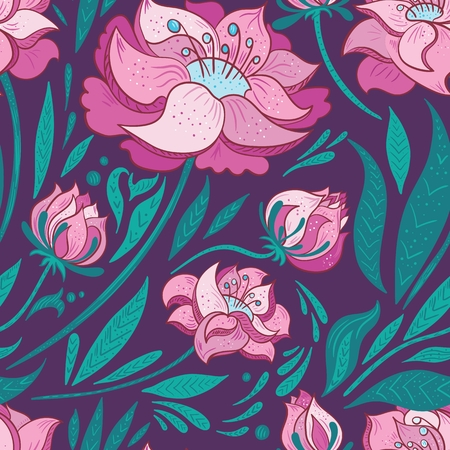 purple pattern: Elegant seamless pattern with flat design florals for contemporary modern textile, wallpaper and cards