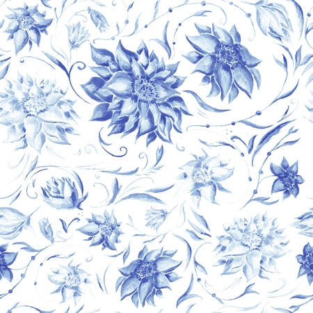 Watercolor floral seamless texture wuth blue peonies, leafs and petals for wallpaper and textile design