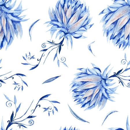 renaissance: Seamless royal renaissance artistic background with blue peony flowers on white Stock Photo