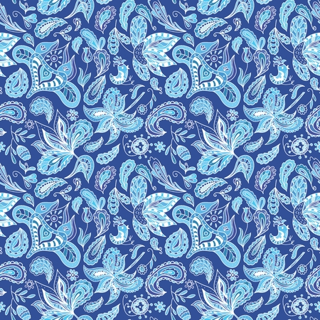 Seamless ethnic background in indigo shadows with eastern ornaments - paisley, feathers, flowers in sketch doodle style for wallpaper and fabric textile design
