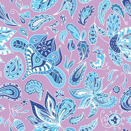 Pink background with blue ethnic eastern indian paisley ornaments Vector