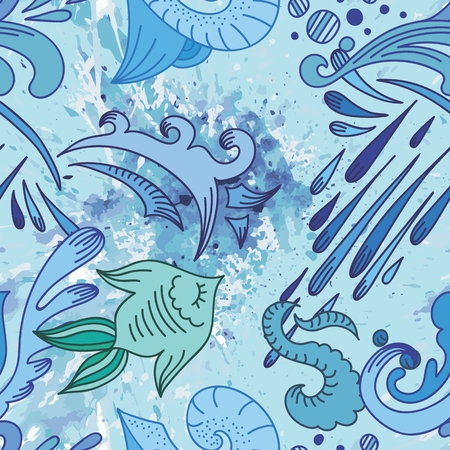 Seamless vector background with doodle style drops, watercolor splash and fish Illustration