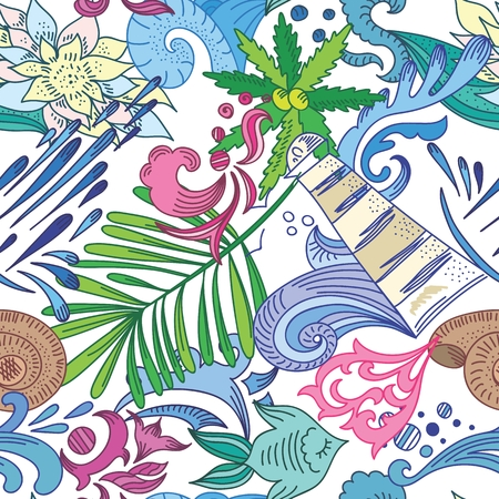 Seamless vector background with tropical leaves, ocean waves and lighthouse for funny summer design, textile and wallpapers Vector