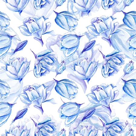 Seamless passion floral background with indigo flowers for bedroom textile and wallpaper design, wedding cards and invitations Stock Photo